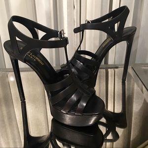 YSL Saint Laurent black tribute sandal heels 7.5